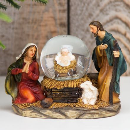 Hand Painted Christmas Holy Nativity Snow Globe
